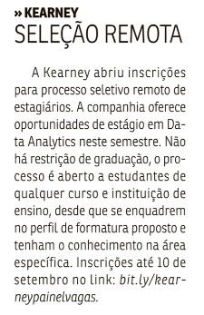 Chances de estágio e jovem aprendiz 30/08/20 Correio Braziliense