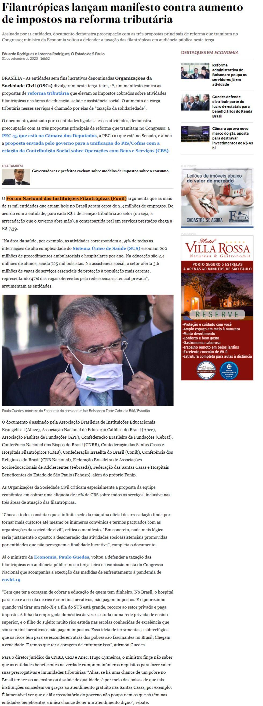 Filantrópicas lançam manifesto contra aumento de impostos na reforma tributária O Estado de S. Paulo (On-line)