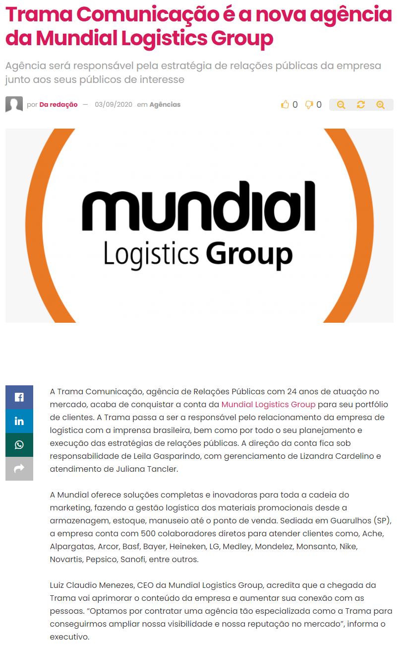 Trama Comunicação é a nova agência da Mundial Logistics Group - ABC da Comunicação