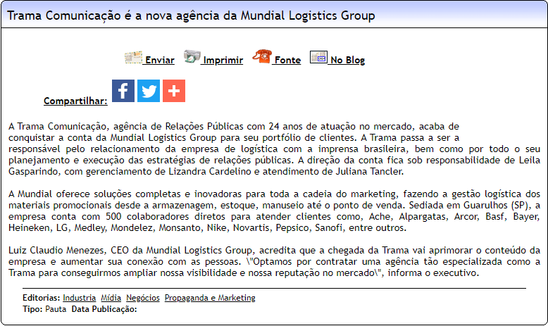 Trama Comunicação é a nova agência da Mundial Logistics Group - Difundir