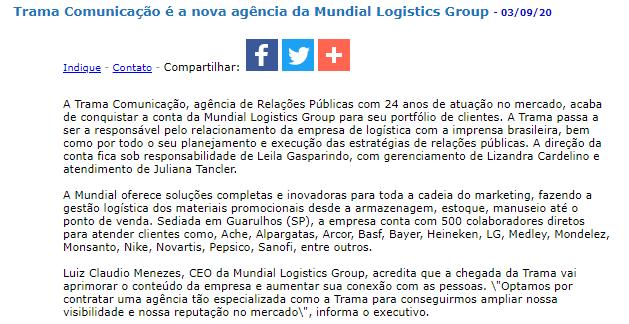 Trama Comunicação é a nova agência da Mundial Logistics Group - JorNow