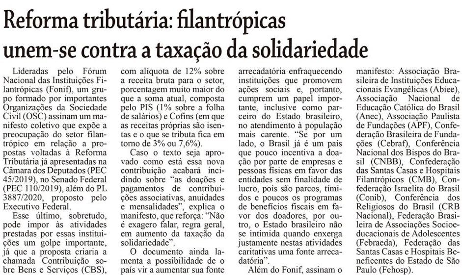 Reforma tributária: filantrópicas unem-se contra a taxação da solidariedade Monitor Mercantil