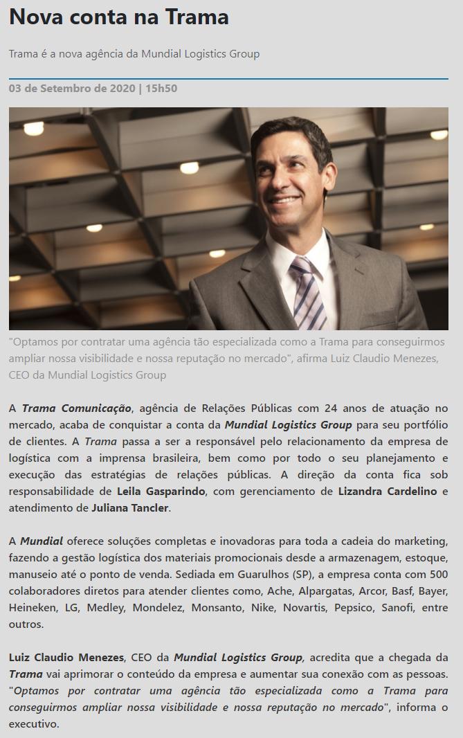 Nova conta na Trama - Portal Mega Brasil Comunicação