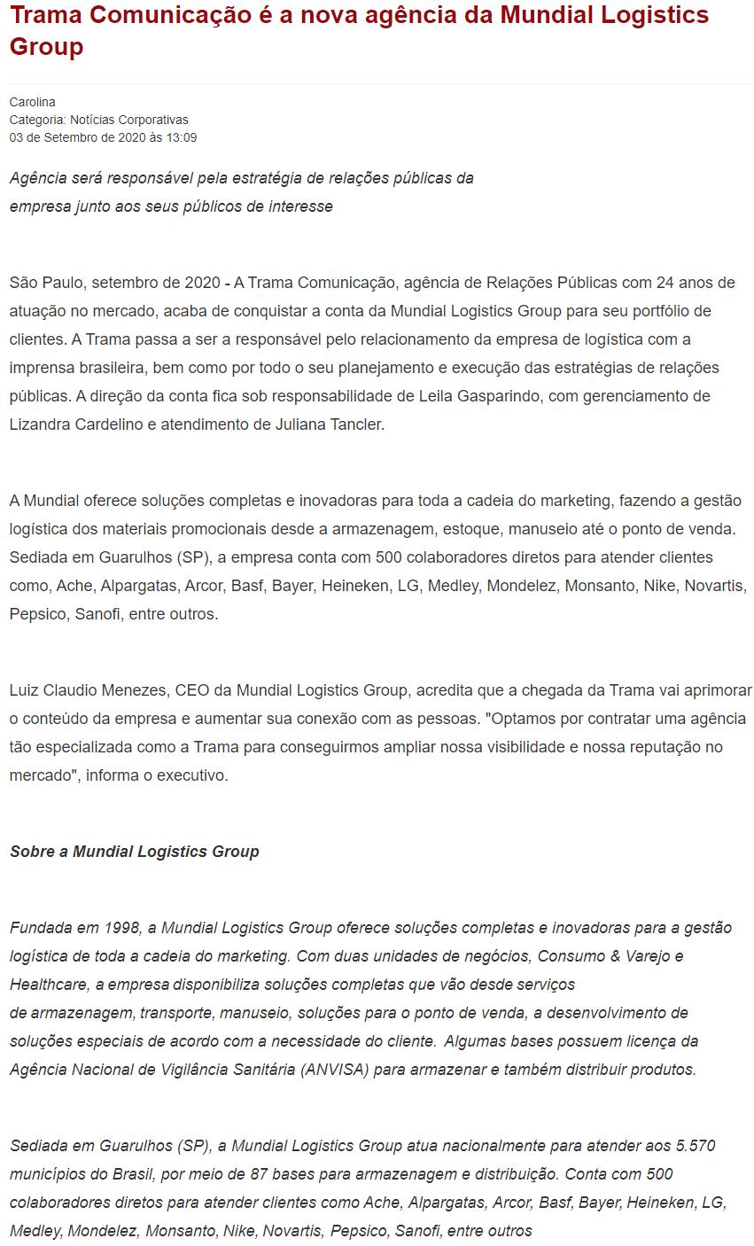 Trama Comunicação é a nova agência da Mundial Logistics Group - Portogente