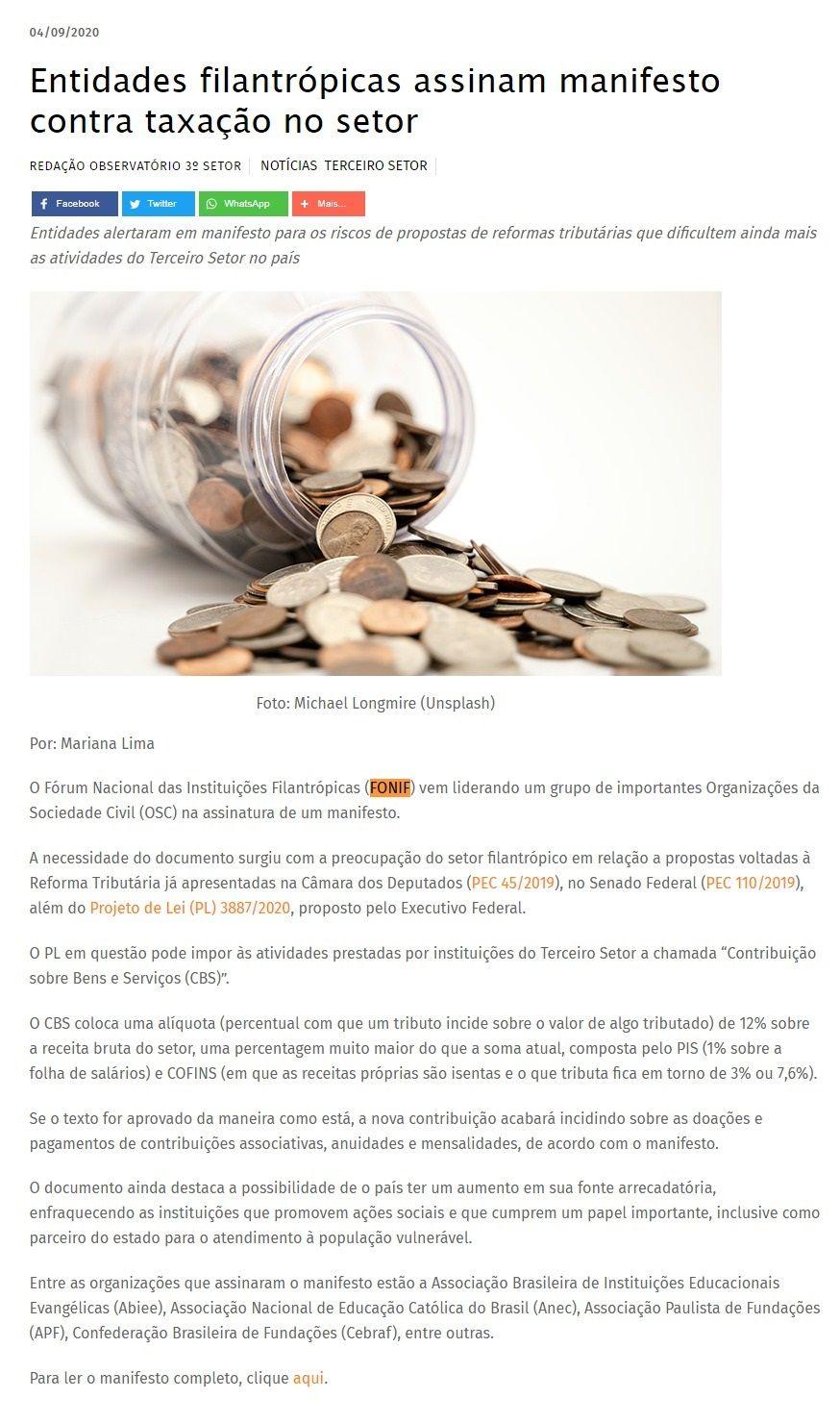 Entidades filantrópicas assinam manifesto contra taxação no setor Observatório do 3° Setor