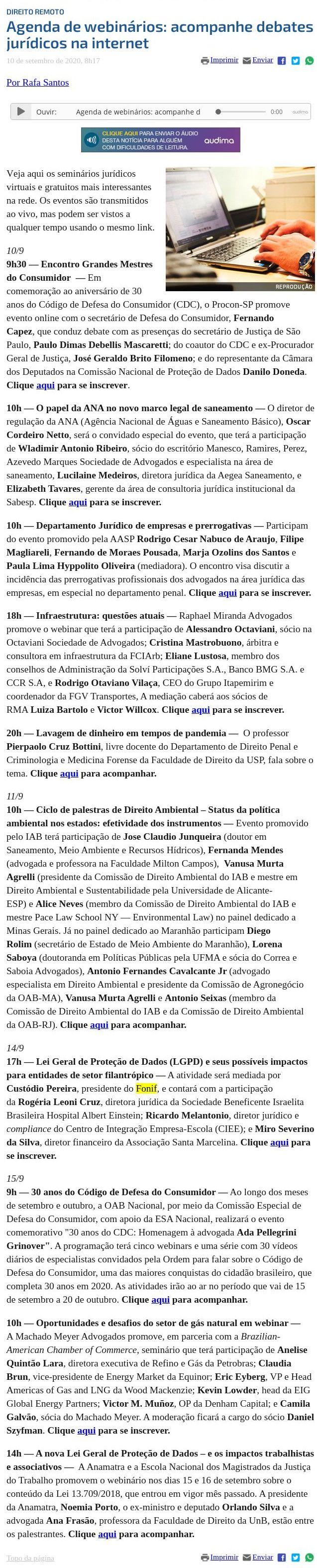Agenda de webinários: acompanhe debates jurídicos na internet Consultor Jurídico