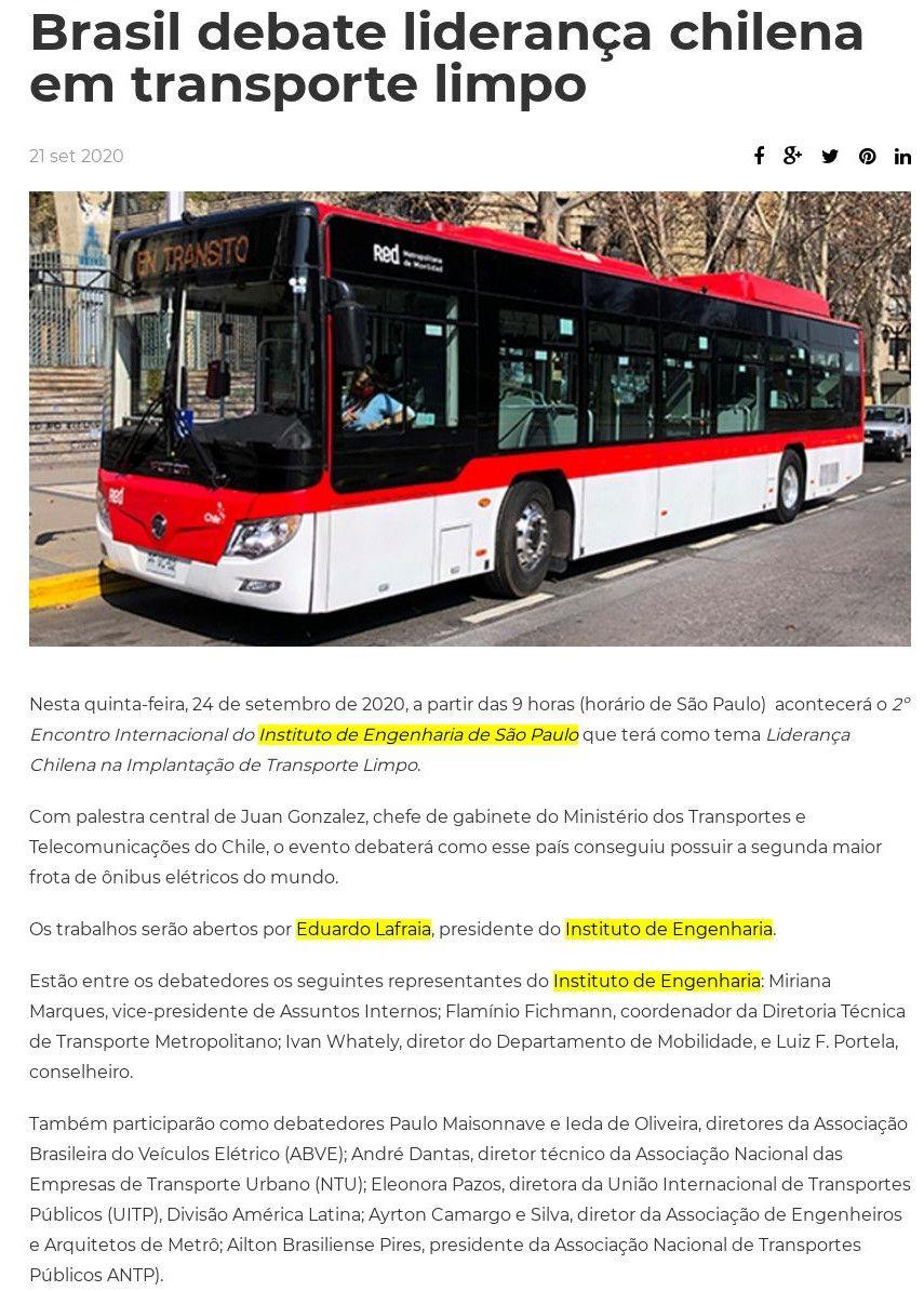Brasil debate liderança chilena em transporte limpo - Mobilitas