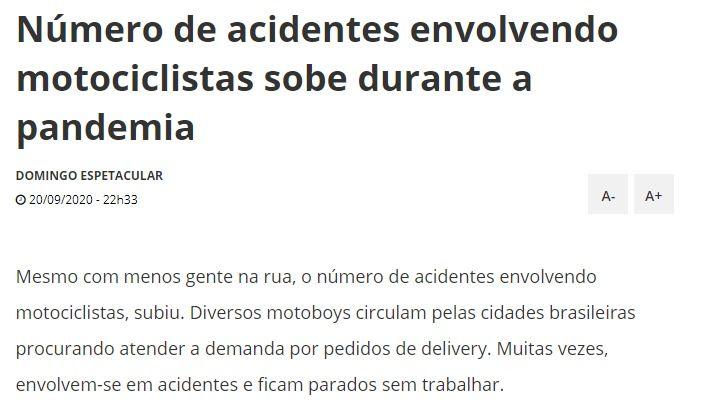 Número de acidentes envolvendo motociclistas sobe durante a pandemia - Record Tv