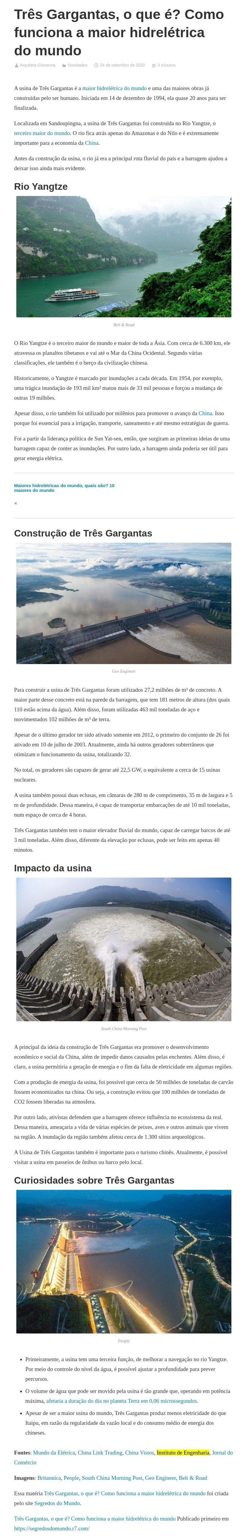 Três Gargantas, o que é? Como funciona a maior hidrelétrica do mundo - Arquiteta Giovanna