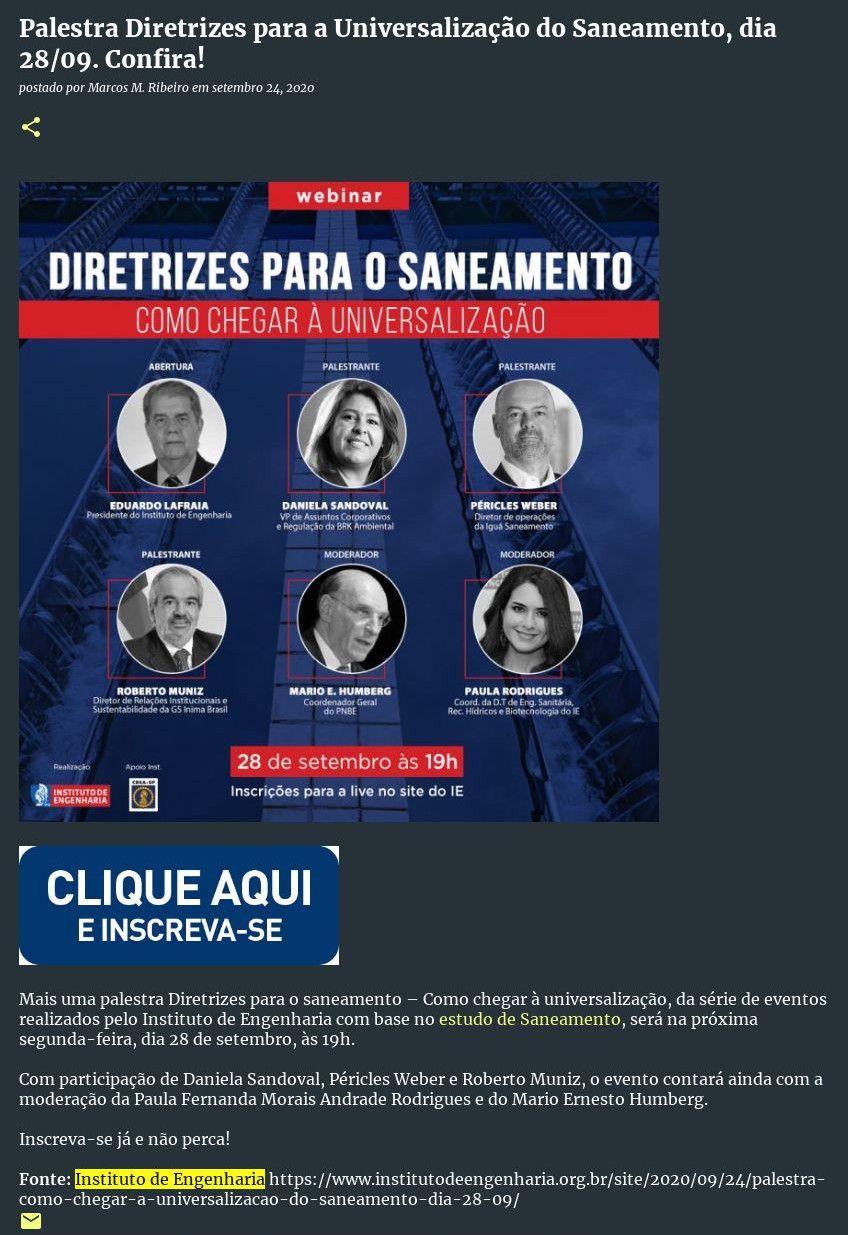 Palestra Diretrizes para a Universalização do Saneamento, dia 28/09. Confira! - Bunifeitabira