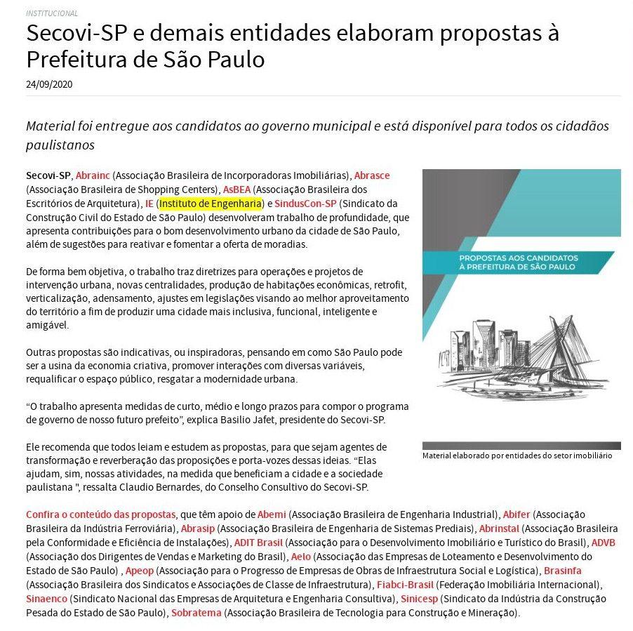 Secovi-SP e demais entidades elaboram propostas à Prefeitura de São Paulo - Secovi-SP