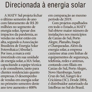 Direcionada à energia solar – Pioneiro