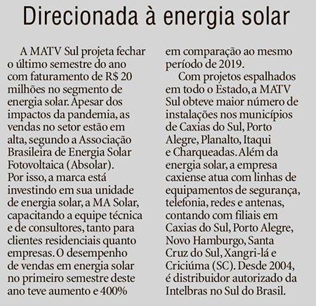 Direcionada à energia solar Pioneiro