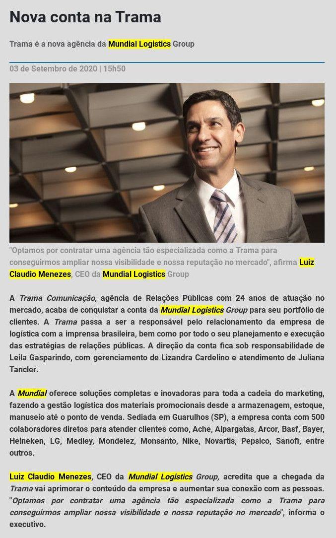 Nova conta na Trama - Mega Brasil Comunicação