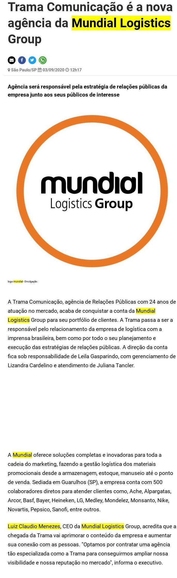 Trama Comunicação é a nova agência da Mundial Logistics Group - Negócios em Foco