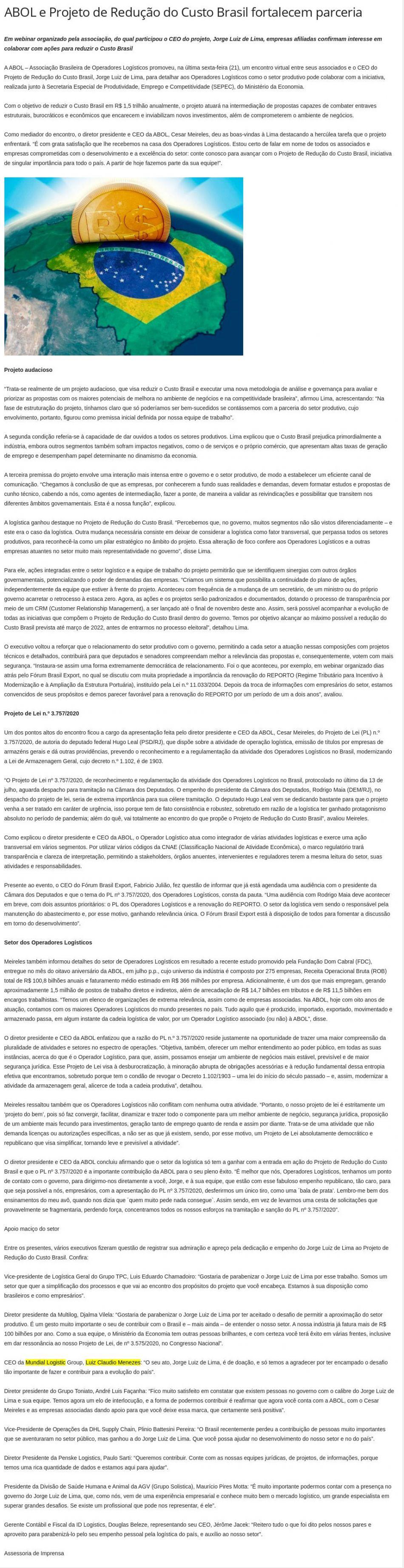 ABOL e Projeto de Redução do Custo Brasil fortalecem parceria - Câmara do Comércio Exterior de Campinas e Região