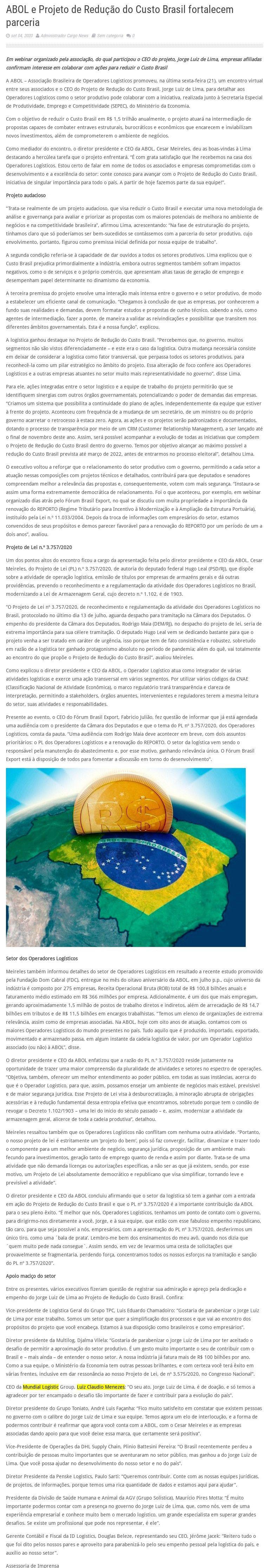 ABOL e Projeto de Redução do Custo Brasil fortalecem parceria - Cargo news