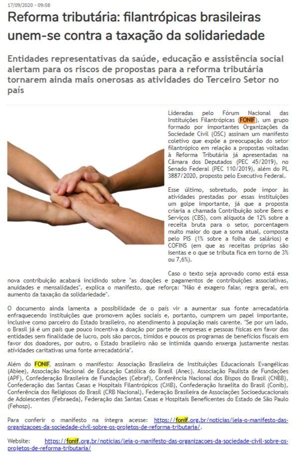 Reforma tributária: filantrópicas brasileiras unem-se contra a taxação da solidariedade Gazeta de Votorantim