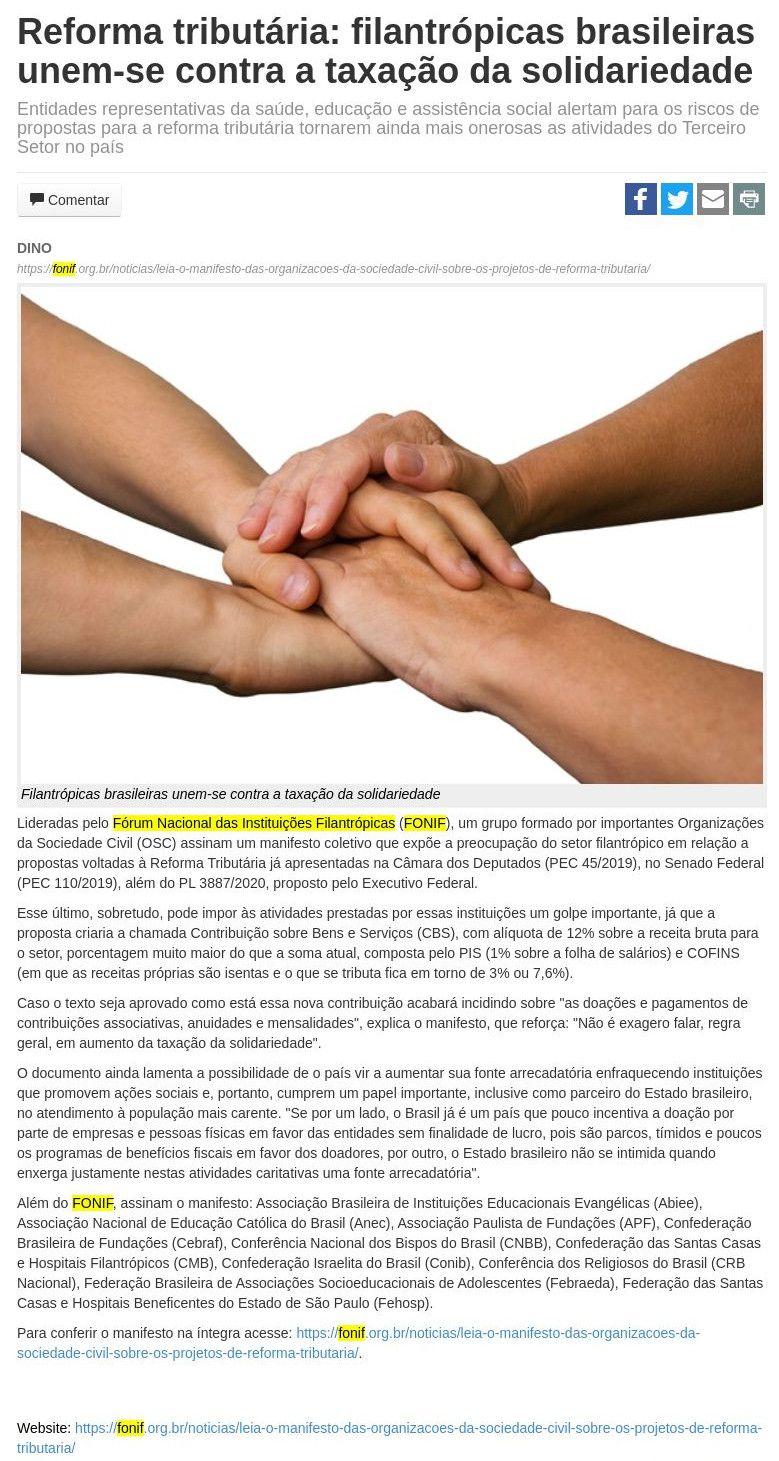 Reforma tributária: filantrópicas brasileiras unem-se contra a taxação da solidariedade JBN Bahia Notícias