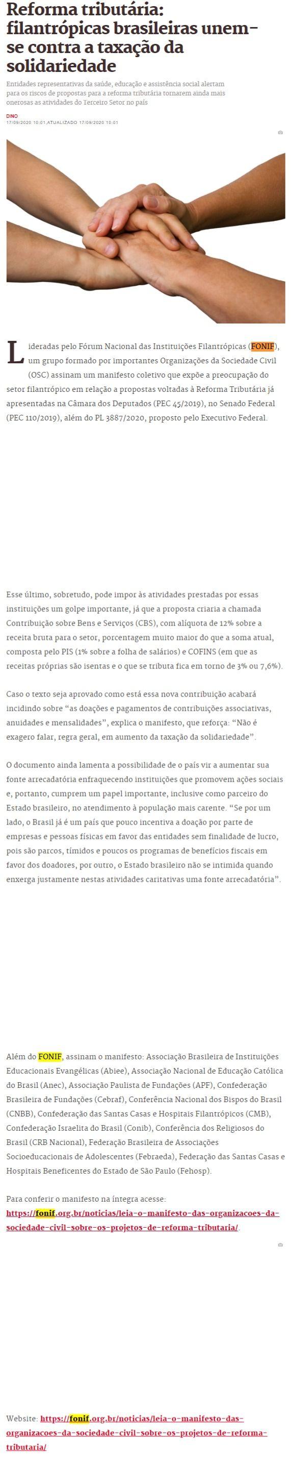 Reforma tributária: filantrópicas brasileiras unem-se contra a taxação da solidariedade Metrópoles