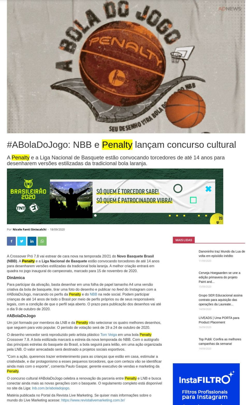 #ABolaDoJogo: NBB e Penalty lançam concurso cultural Adnews