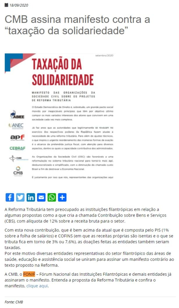 """CMB assina manifesto contra a """"taxação da solidariedade"""" FEMIPA"""