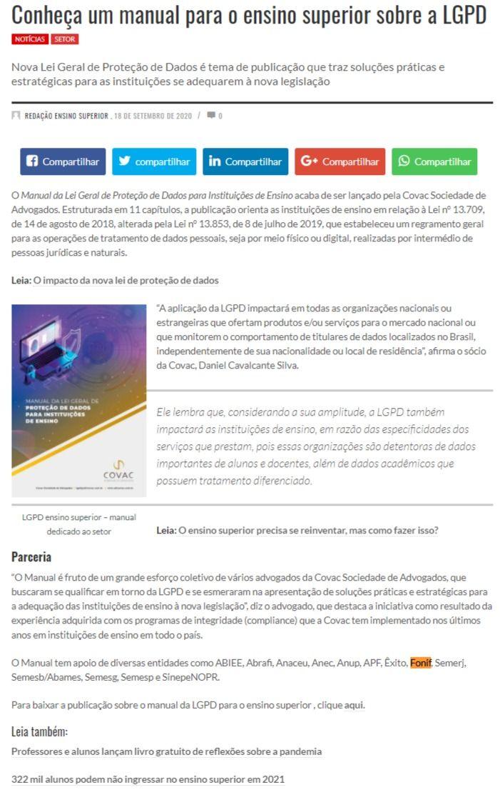 Conheça um manual para o ensino superior sobre a LGPD Revista Ensino Superior