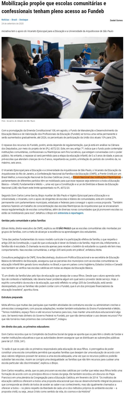 Mobilização propõe que escolas comunitárias e confessionais tenham pleno acesso ao Fundeb Jornal O São Paulo