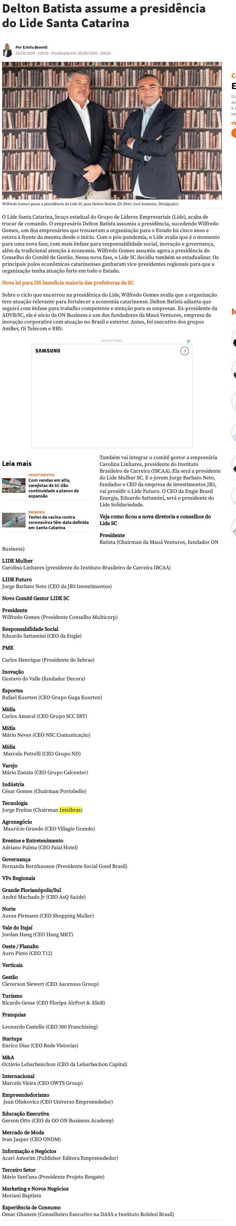 Delton Batista assume a presidência do Lide Santa Catarina NSC Total