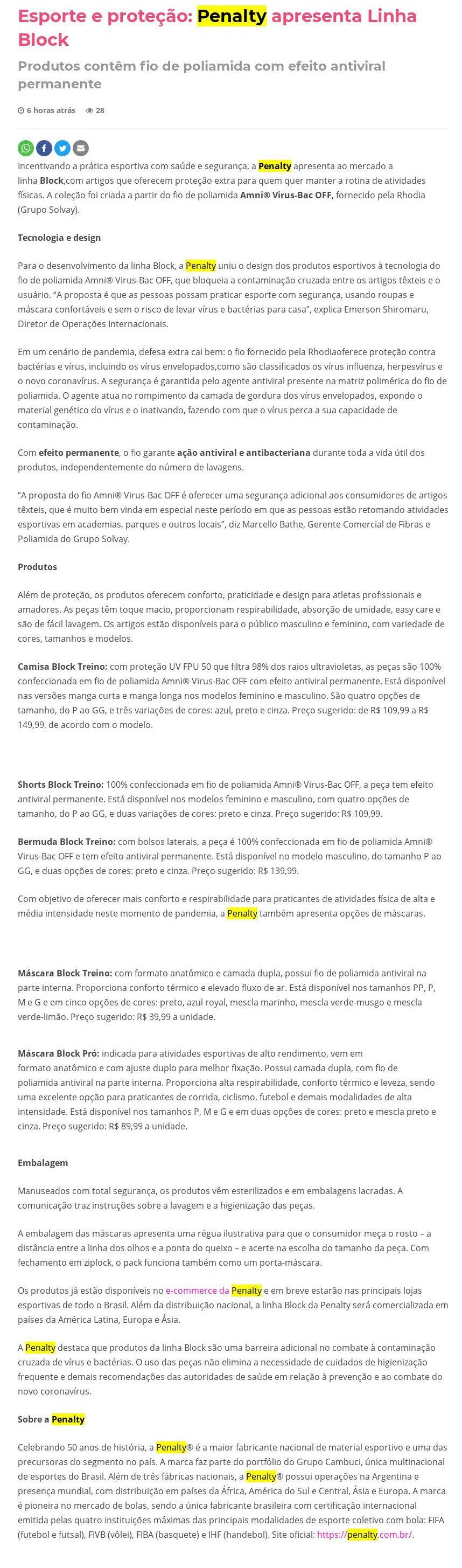 Esporte e proteção: Penalty apresenta Linha Block Studiobox