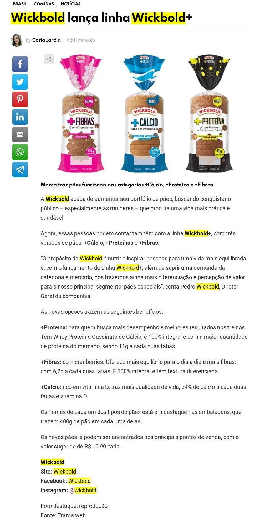 Wickbold lança linha Wickbold+- Gastronominho