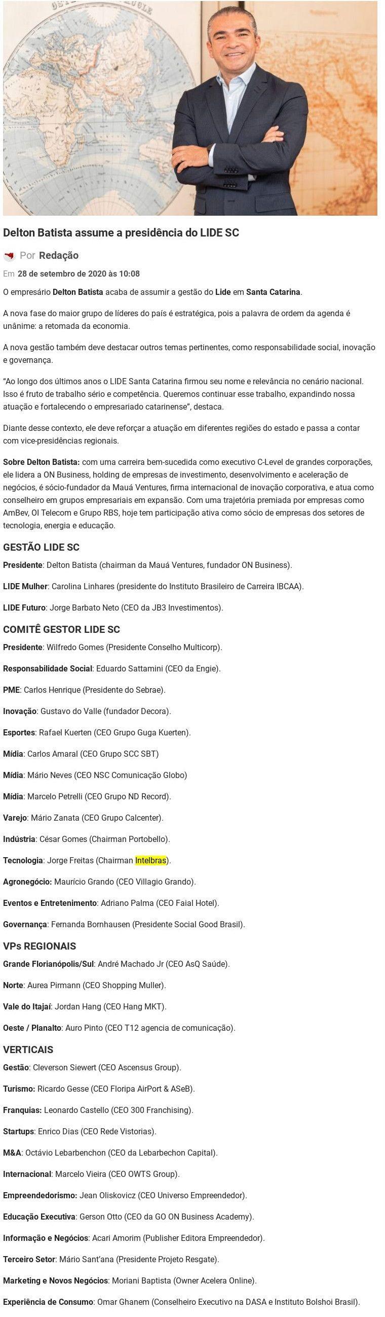 Delton Batista assume a presidência do LIDE SC Economia SC