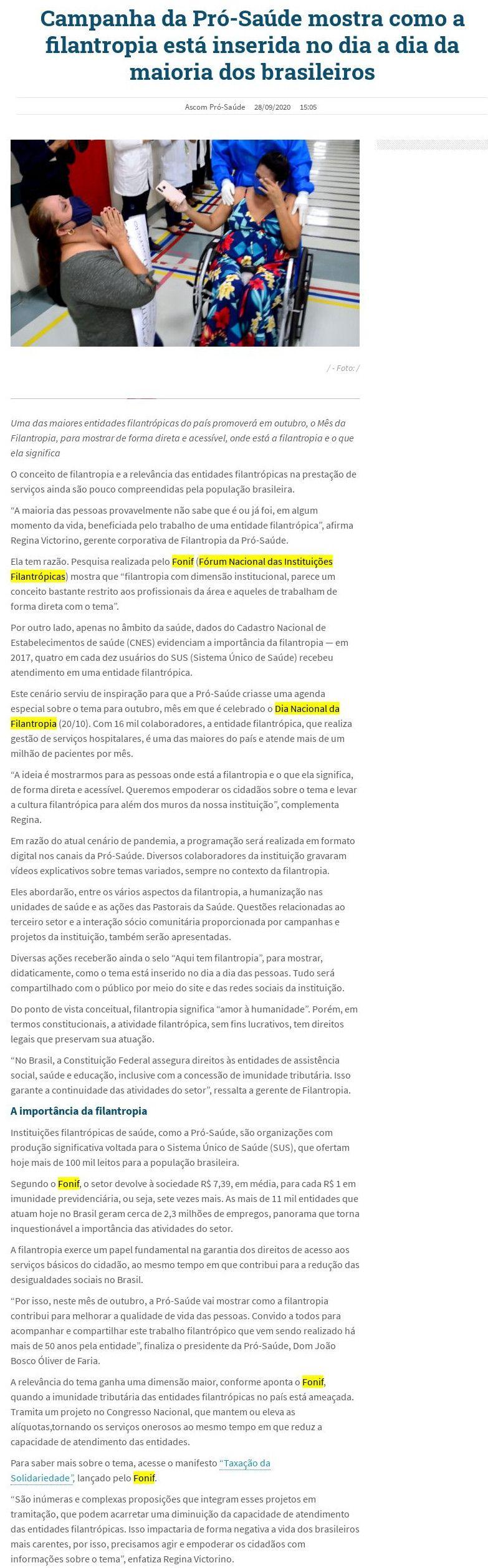 Campanha da Pró-Saúde mostra como a filantropia está inserida no dia a dia da maioria dos brasileiros Folha PA -