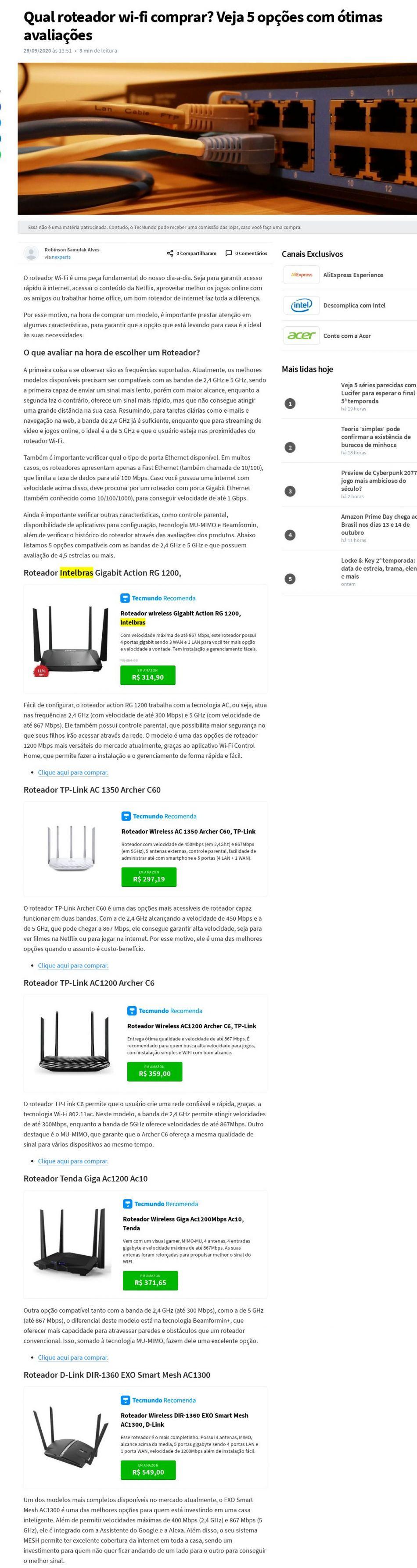 Qual roteador wi-fi comprar? Veja 5 opções com ótimas avaliações Tec Mundo