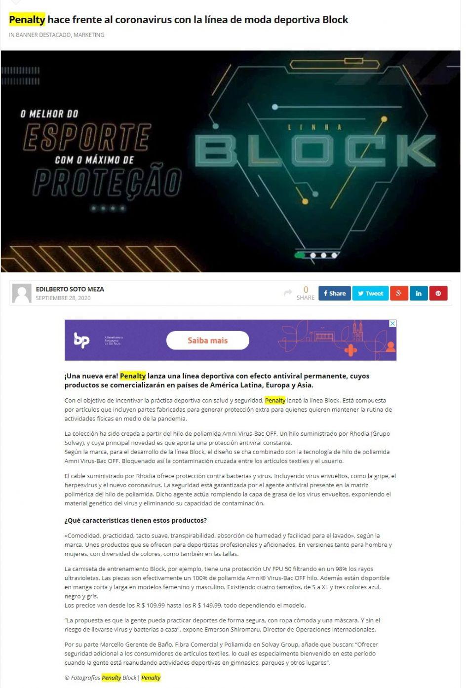 Penalty hace frente al coronavirus con la línea de moda deportiva Block La Jugada Financiera