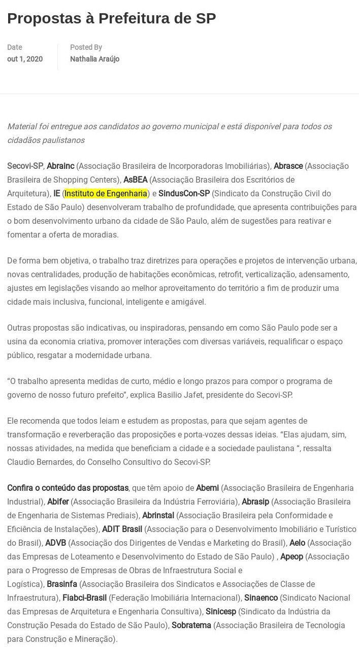 Propostas à Prefeitura de SP - Manuais de Escopo