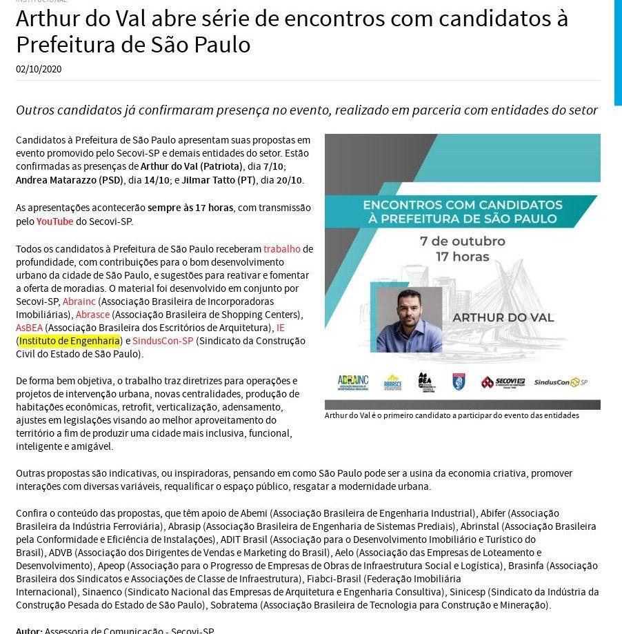 Arthur do Val abre série de encontros com candidatos à Prefeitura de São Paulo - Secovi-SP