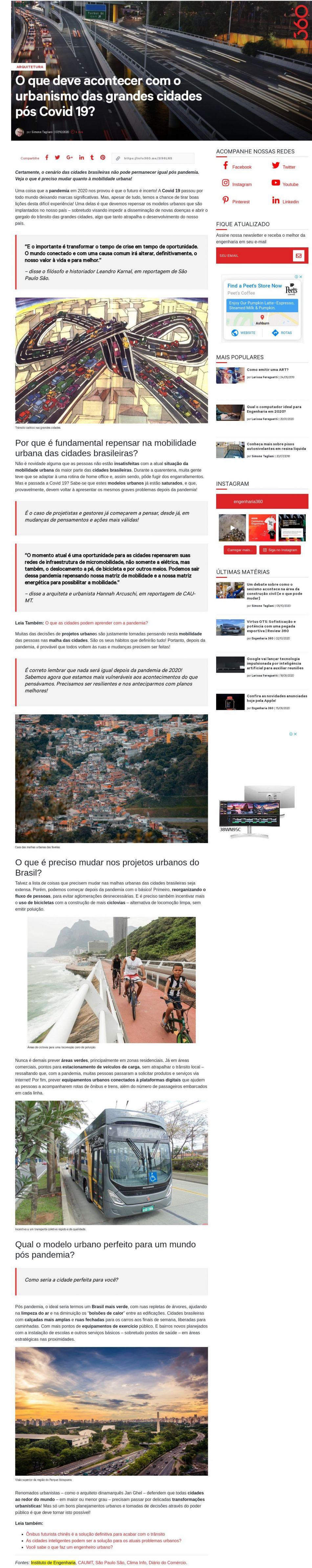 O que deve acontecer com o urbanismo das grandes cidades pós Covid 19? - Engenharia 360