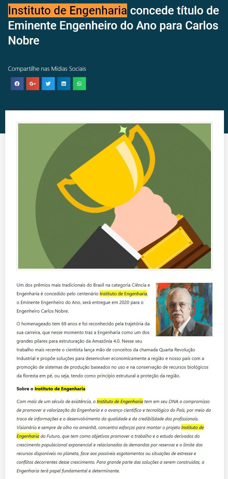 Instituto de Engenharia concede título de Eminente Engenheiro do Ano para Carlos Nobre - Negócios.Pro.BR