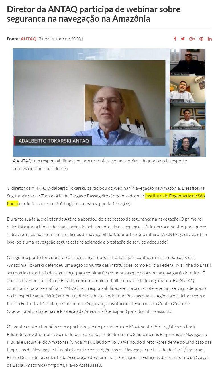 Diretor da ANTAQ participa de webinar sobre segurança na navegação na Amazônia - SOPESP