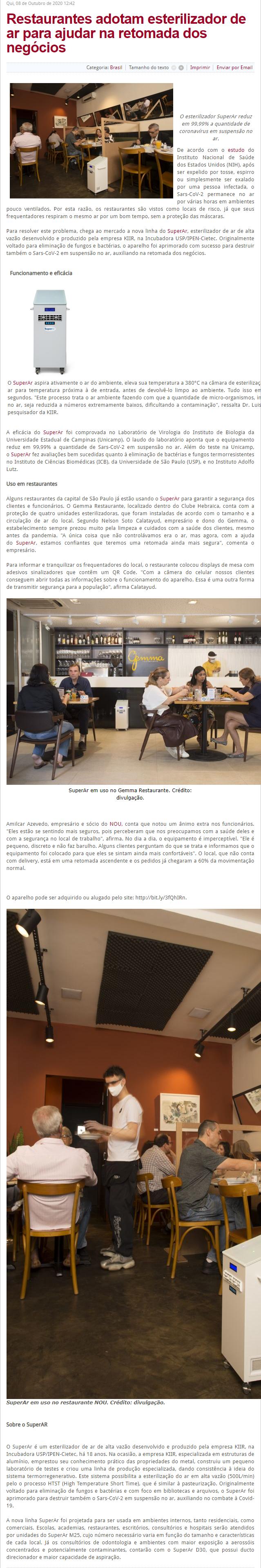 Restaurantes adotam esterilizador de ar para ajudar na retomada dos negócios - Revista Panorama