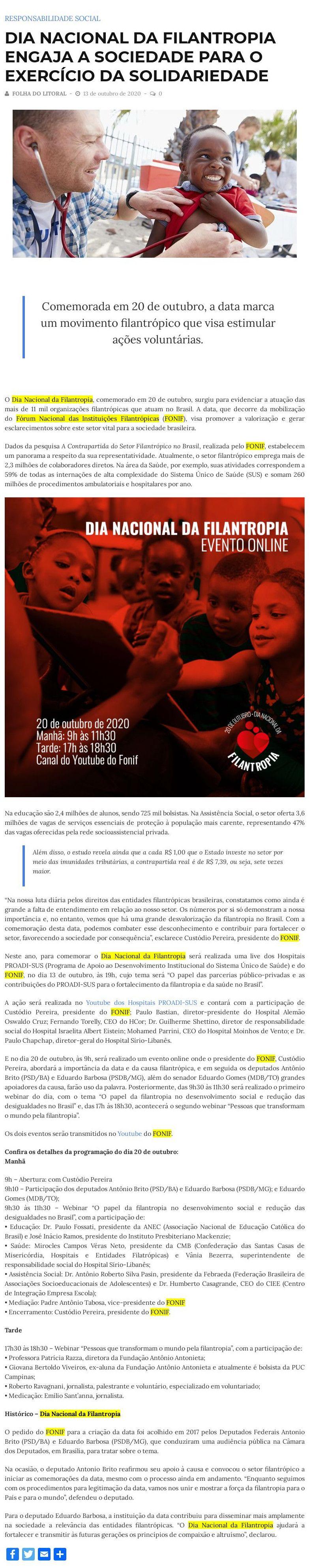 Dia Nacional da Filantropia engaja a sociedade para o exercício da solidariedade Folha do Litoral de Balneário Camboriú