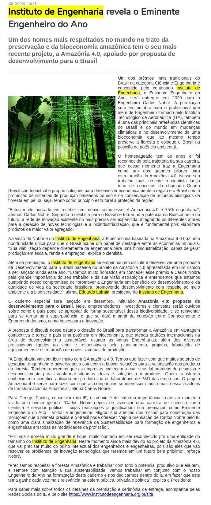 Instituto de Engenharia revela o Eminente Engenheiro do Ano - Gazeta de Votorantim