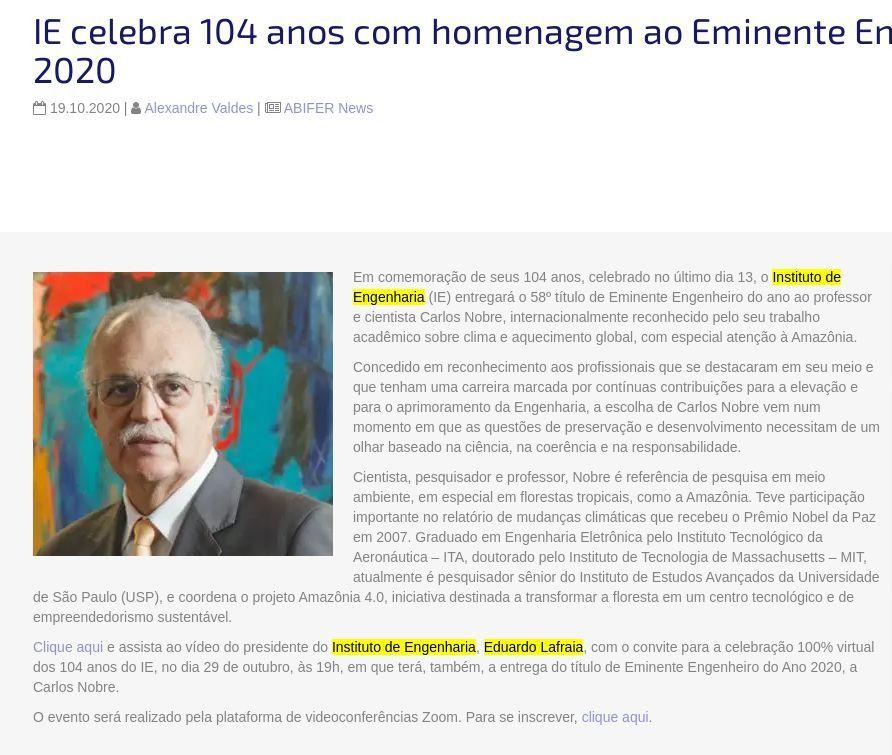 IE celebra 104 anos com homenagem ao Eminente Engenheiro de 2020 - ABIFER