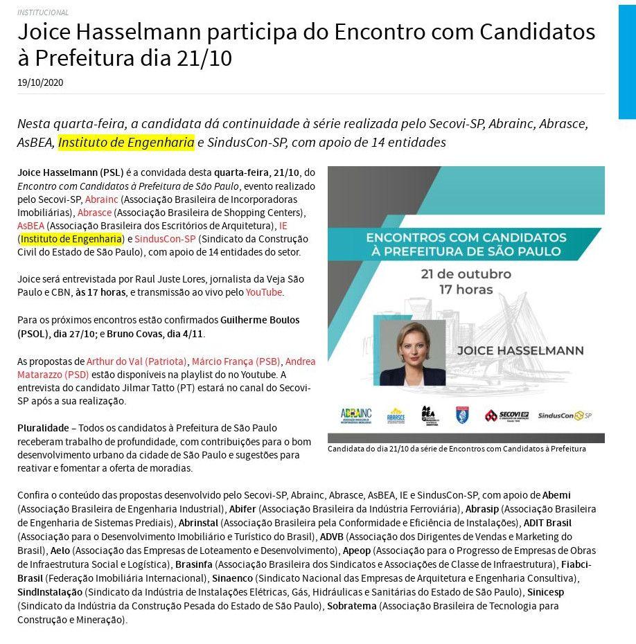 Joice Hasselmann participa do Encontro com Candidatos à Prefeitura dia 21/10 - Secovi-SP