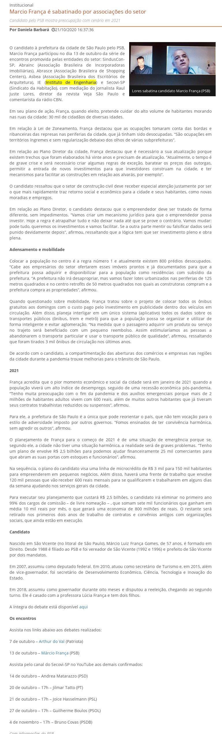 Marcio França é sabatinado por associações do setor - SindusCon