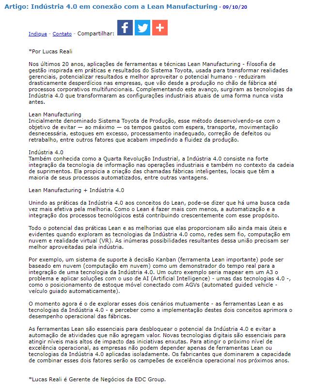 Artigo: Indústria 4.0 em conexão com a Lean Manufacturing- JorNow