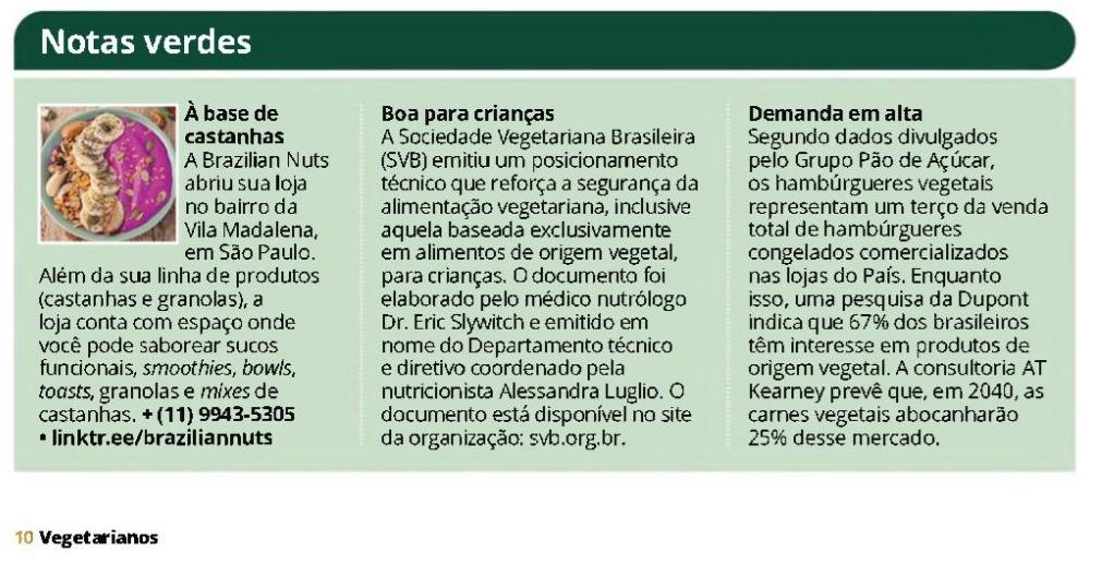 Demanda em alta - Revista dos Vegetarianos