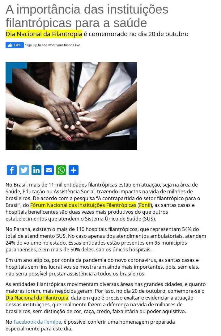 A importância das instituições filantrópicas para a saúde FEMIPA