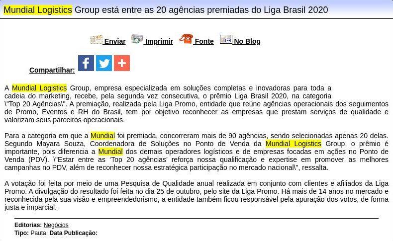 Mundial Logistics Group está entre as 20 agências premiadas do Liga Brasil 2020 - Difundir